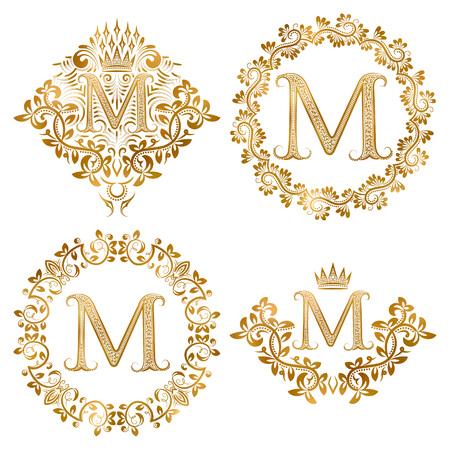 Oro lettera M monogrammi d'epoca insieme. monogram araldico in cappotti di forma bracci, lettera M in floreale tondo, lettera M in corona, monogram araldico decorazione floreale con corona.