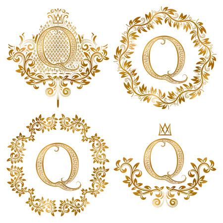 Golden Q letter vintage monograms set. Heraldic coats of arms and round frames. Illustration
