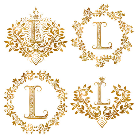Golden letter L vintage monograms set. Heraldic monogram in coats of arms form, letter L in floral round frame, letter L in wreath, heraldic monogram in floral decoration with crown.