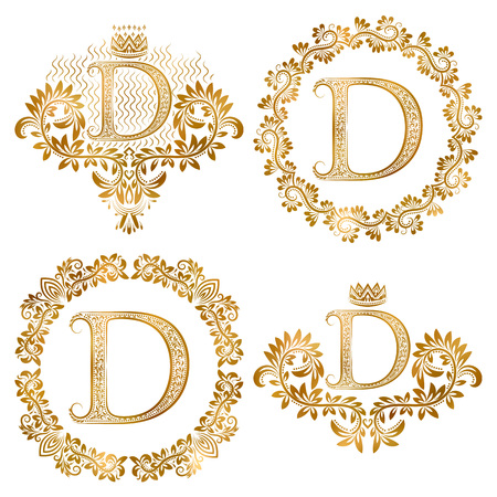 Golden letter D vintage monograms set. Heraldic monogram in coats of arms form, letter D in floral round frame, letter D in wreath, heraldic monogram in floral decoration with crown.