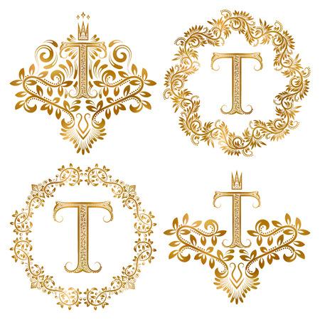 lettera t oro monogrammi d'epoca insieme. stemmi araldici e cornici rotonde.