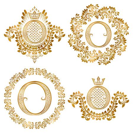 lettre d'or O cru monogrammes fixés. monogramme Héraldique en couches de forme d'armes, lettre O dans le cadre rond floral, lettre O en guirlande, monogramme héraldique dans la décoration florale avec la couronne.