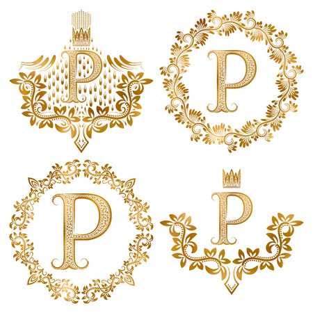 Golden P letter vintage monograms set. Heraldic coats of arms and round frames.