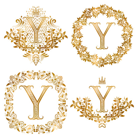 Golden Y letter vintage monograms set. Heraldic coats of arms and round frames.