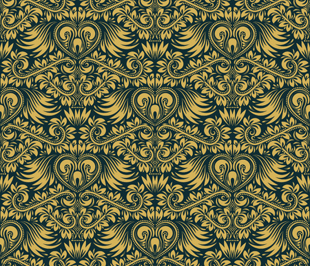 antique wallpaper: Damask seamless pattern repeating background. Gold blue floral ornament in baroque style. Antique golden repeatable wallpaper.