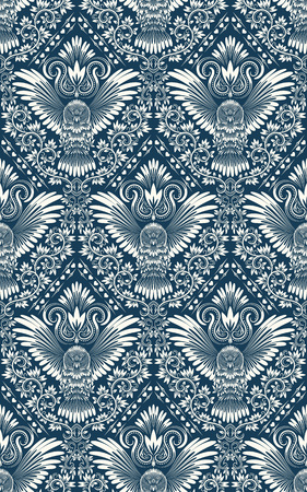 outstretched: Damask seamless pattern with owl silhouette. Vintage repeating background. Floral ornament of blue tones in baroque style. Illustration