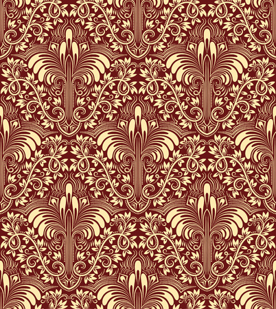 burgundy: Damask seamless pattern repeating background. Ivory burgundy floral ornament in baroque style. Illustration