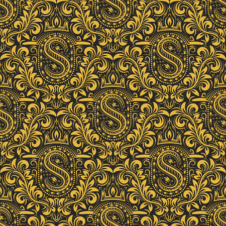Damask seamless pattern repeating background. Gold black floral ornament with S letter and crown in baroque style. Antique golden repeatable wallpaper.