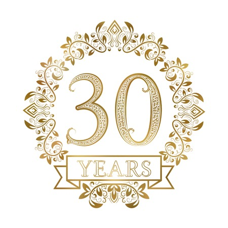 Golden emblem of thirtieth years anniversary in vintage style. Illustration