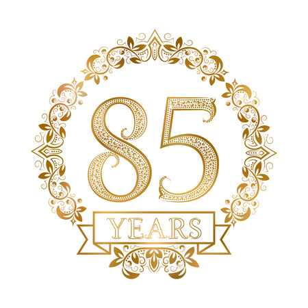 fifth: Golden emblem of eighty fifth years anniversary in vintage style. Illustration