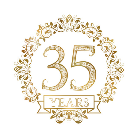 Golden emblem of thirty fifth years anniversary in vintage style. Illustration