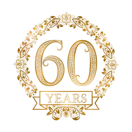 Golden emblem of sixtieth years anniversary in vintage style.