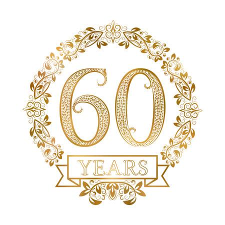 Gouden embleem van zestigste jaar jubileum in vintage stijl.