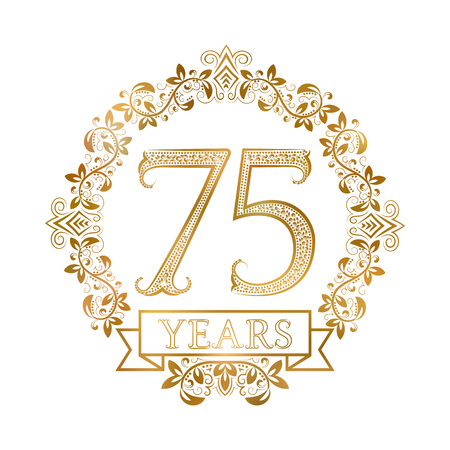 fifth: Golden emblem of seventy fifth years anniversary in vintage style.
