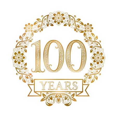 ビンテージ スタイルの 100 周年記念の黄金の紋章。  イラスト・ベクター素材