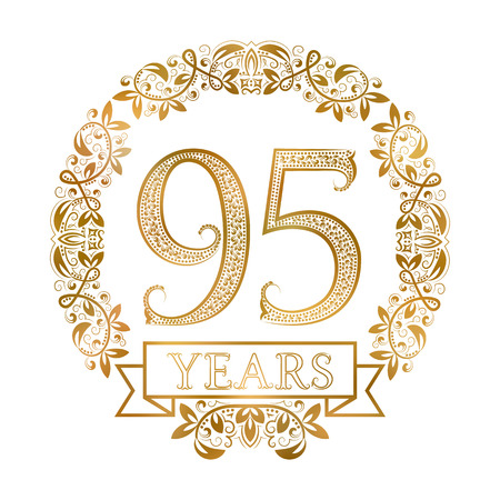 fifth: Golden emblem of ninety fifth years anniversary in vintage style.