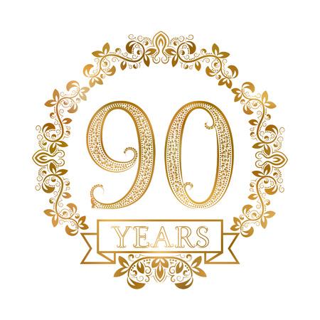 Gouden embleem van de negentigste verjaardag in vintage stijl. Stock Illustratie