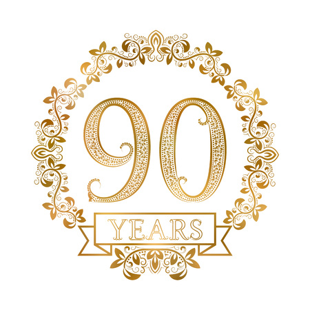 Golden emblem of ninetieth years anniversary in vintage style. Illustration