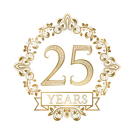 twenty fifth: Golden emblem of twenty fifth years anniversary in vintage style. Illustration