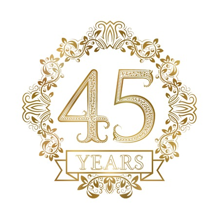 Golden emblem of forty fifth years anniversary in vintage style. Illustration