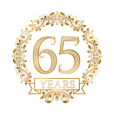 fifth: Golden emblem of sixty fifth years anniversary in vintage style.