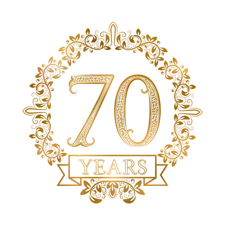 Golden emblem of seventieth years anniversary in vintage style.