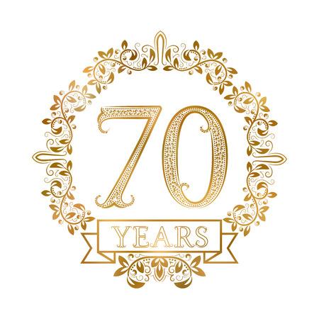 Gouden embleem van zeventigste jaar verjaardag in vintage stijl.