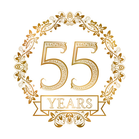 fifth: Golden emblem of fifty fifth years anniversary in vintage style.
