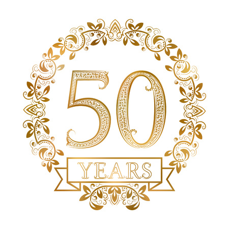Golden emblem of fiftieth years anniversary in vintage style. Çizim