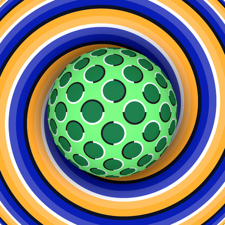 physiological: Optical illusion of rotation of the ball against the background of a moving spiral. Illustration
