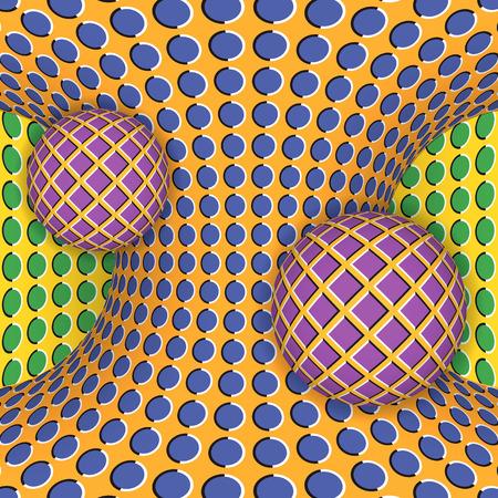 可動双曲面の 2 つのボールの周りの回転の錯視。抽象的な背景。  イラスト・ベクター素材