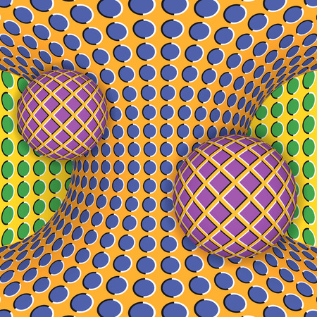 physiological: Optical illusion of rotation of two balls around of a moving hyperboloid. Abstract background.