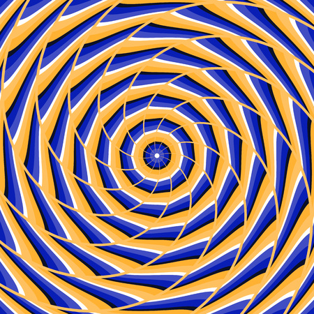 Spiral twisting to center. Abstract vector optical illusion background. Illustration