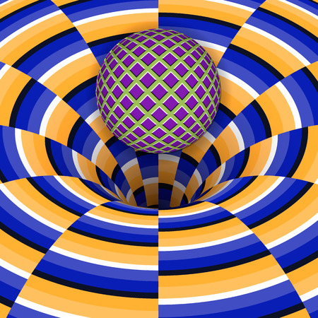 Optical illusion of the ball is falling into a hole. Abstract background. Illustration