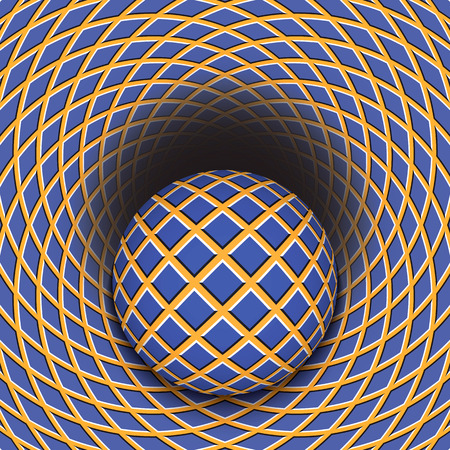 physiological: Optical illusion of the ball is rolling into a hole. Abstract background.
