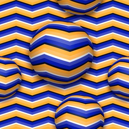 위쪽으로 움직이는 공. 움직임의 착시와 추상적 인 벡터 원활한 패턴.