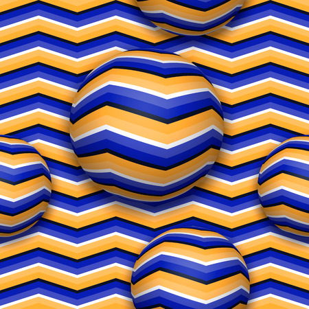 Boules se déplaçant vers le haut. Modèle sans couture abstract vector avec illusion d'optique du mouvement.