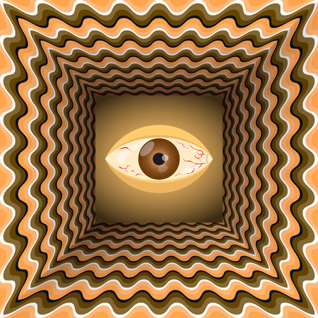 Conceptual abstract eye in the end of tunnel with the optical illusion of movement.