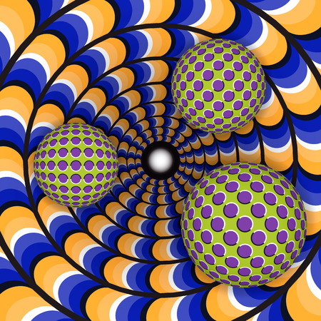 Optical illusion of rotation of three ball around of a moving hole. Abstract background.