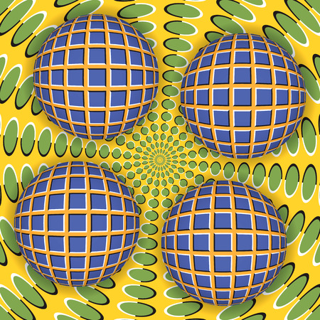 Optical illusion of rotation of four ball around of a moving surface. Abstract background.