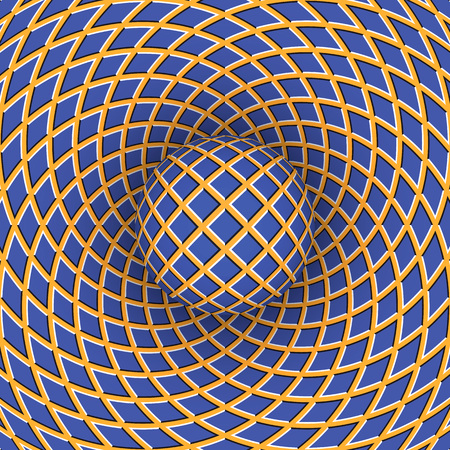 deceptive: Optical illusion of rotation of the ball against the background of a moving space. Illustration