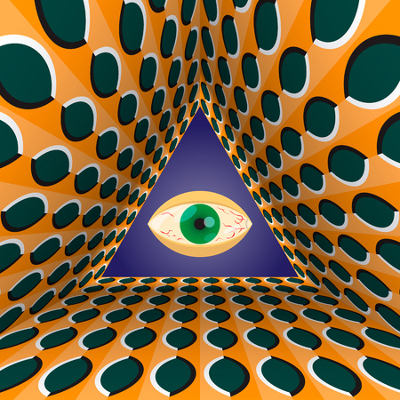 Conceptual abstract all-seeing eye in the end of tunnel with the optical illusion of movement.