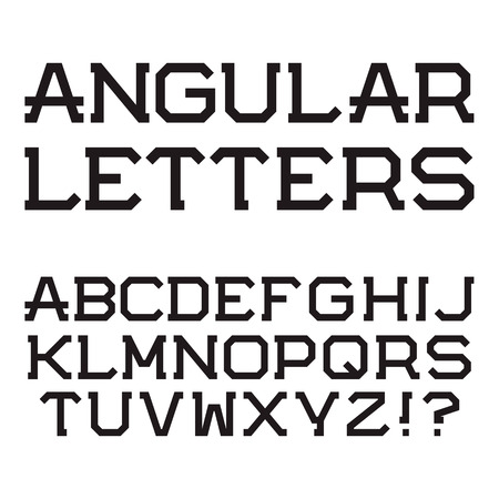 Black Angular Letters And Numbers Stylish Font Isolated Latin