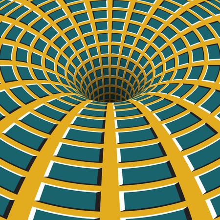 Checkered funnel. Rotating hole. Motley moving background. Optical illusion illustration.