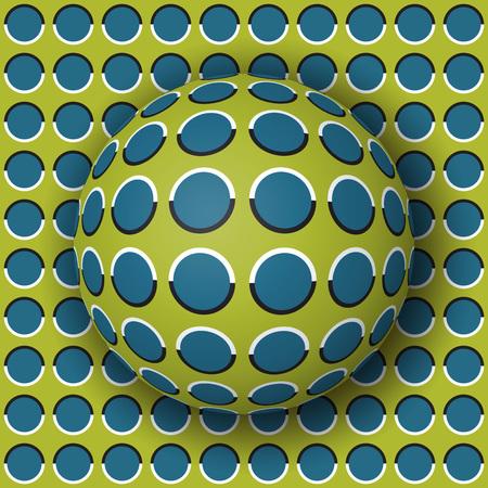 Polka dot bal rollen langs het polka dot oppervlak. Abstracte vector optische illusieillustratie. Extravagante achtergrond en tegel van naadloos behang.