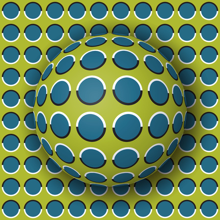 Polka dot ball rolling along the polka dot surface. Abstract vector optical illusion illustration. Extravagant background and tile of seamless wallpaper.