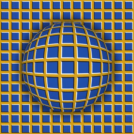바둑판 무늬의 표면을 따라 굴러가는 바둑판 무늬 공. 추상적 인 벡터 착시 그림입니다. 사치스러운 배경 및 원활한 벽지의 타일입니다. 스톡 콘텐츠 - 74394752