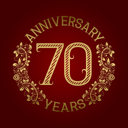 seventieth: Golden emblem of seventieth anniversary. Celebration patterned sign on red.
