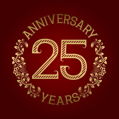 twenty fifth: Golden emblem of twenty fifth anniversary. Celebration patterned sign on red. Illustration