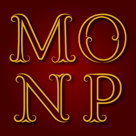 antiquated: M, N, O, P golden vintage letters with shadow. Letters of lines with flourishes. Font in royal style.